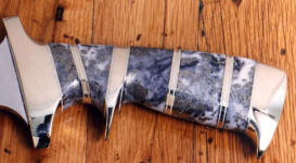 Quartz with pyrite looks great with brass fittings on this hidden tang tactical knife with a sub-hilt