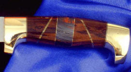 Australian Tiger Iron gemstone on hidden tang knife handle with African Blackwood and brass