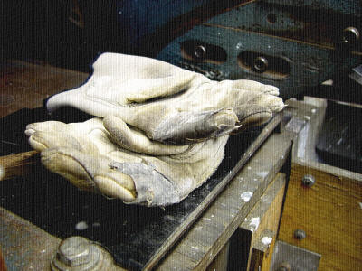 Gloves on grinder