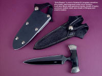 """Grim Reaper"" push dagger, obverse side view in blued O1 high carbon tungsten-vanadium tool steel blade, hand-engraved nickel silver bolsters, Australian Black Jade gemstone handle, stingray inlaid in hand-carved leather sheath, kydex, aluminum, nickel plated steel sheath"