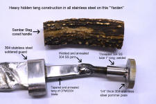 "Hidden tang knife construction with 3/8"" threaded rod tang all in stainless steel"