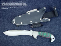 """Hania"" obverse side view  in ATS-34 high molybdenum stainless steel blade, 304 stainless steel bolsters, canvas reinforced green, black Micarta phenolic, locking sheath in kydex, aluminum, stainless steel with accessories"