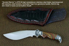 """Hooded Warrior"" obverse side view in ATS-34 high molybdenum stainless steel blade, hand-engraved 304 stainless steel bolsters, Australian Tiger Iron gemstone handle, locking kydex, aluminum, stainless steel sheath"