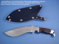 """Hooded Warrior"" obverse side view: fine custom tactical, combat knife in ATS-34 stainless steel, 304 stainless steel bolsters, Black Palm Wood hardwood handle, locking kydex, aluminum, stainless steel sheath"