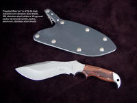 """Hooded Warrior"" sniper's combat knife in ATS-34 stainless steel blade, 304 stainless steel bolsters, Kingwood hardwood handle, locking waterproof combat tactical knife sheath"