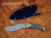 """Hooded Warrior"" sniper's custom combat knife, obverse side view in ATS-34 high molybdenum stainless steel blade, nickel silver bolsters, canvas micarta phenolic handle, locking kydex, aluminum, stainless steel sheath"