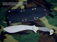 """Horrocks"" custom tactical combat knife, obverse side view in 440C high chromium stainless steel blade, engraved nickel silver bolsters, canvas micarta phenolic handle, kydex, aluminum, blued steel sheath"