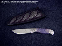 """Aurora"" is a fine smaller knife, with a good belly for working with small to medium sized game and utility chores. This style also makes a great bird and trout knife."
