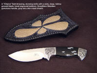 "The ""Chama"" with gemstone handle makes a fine drop point knife with a deep belly for skinning"