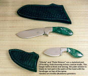 A beatiful pair of matched knives, the Cibola and the Palm skinner in verdite (Budstone) gemstone handles