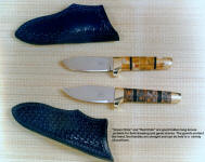 "The ""Green Chile"" and ""Red Chile"" are neat hidden tang knives suitable for hunting and utility work, in gemstone and wood"