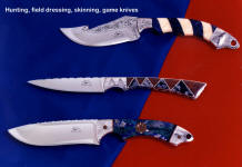 An unusual group of gemstone mosaic and inlaid handle knives with hunting roots