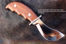 This Half Moon Caping knife is a very early knife of mine, in hollow ground D2 and Cocobolo hardwood, a tough skinner