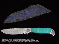 "A very fine Chrysocolla ""Izar"" features a stainless steel damascus blade and a great drop point shape for numerous hunting and utility cutting chores"