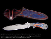 "The ""Mountain Creature"" is a hybrid of several knives, and is a large, heavy, tough drop point suitable for large game and survival"