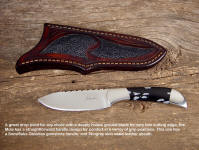 "The ""Mule"" is a stout knife useful for many tasks; this one has a snowflake obsidian gemstone handle"