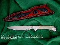 Here's a nice Ruidoso with a white banded agate handle and engraved stainless steel bolsters. This style also makes a great bird and trout knife.