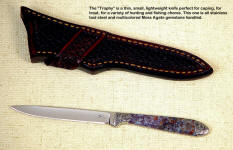 "This ""Trophy"" caper has a tough, hard, and beautiful agate gemstone handle. This style also makes a great bird and trout knife."