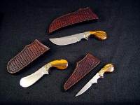 The Trophy Game Set has matching basketweaved sheaths for field carry.