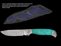 """Izar"" obverse side view in stainless steel damascus blade, hand-engraved 304 stainless steel bolsters, Chrysocolla gemstone handle, blue stingray skin inlaid in hand-carved leather sheath"