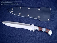 """Kadi"" Obverse side view: 440c high chromium stainless steel double hollow ground blade, 304 stainless steel bolsters, Mahogany Obsidian and Snowflake Obsidian gemstone handle, aluminum, kydex, nickel plated steel sheath"