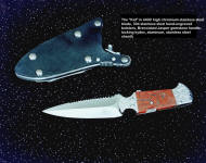"""Kid"" SERE combat, rescue knife in 440C stainless steel, with 440C hookblade in handle, hand-engraved 304 stainless steel bolsters, Brecciated Jasper gemstone handle, locking kydex, aluminum, stainless steel sheath"