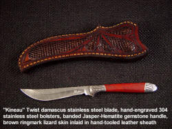 """Kineau"" Stainless damascus steel blade, hand-engraved stainless steel bolsters, jasper gemstone handle, lizard inlaid in leather sheath"