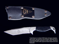 """Last Chance"" tactical Police knife, obverse side view in etched 440C high chromium stainless steel blade, 304 stainless steel bolsters, Midnight stone gemstone handle, kydex, aluminum, blued steel sheath with flashplate"