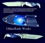 """Last Chance"" Marshal's Law Enforcement knife in etched stainless steel blade, 304 stainless steel bolsters, Sodalite gemstone handle, engraved aluminum flashplate on tension kydex, aluminum, steel sheath"