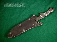 """Minuteman"" tactical combat knife with blued steel fittings, Zebra Marble gemstone handle, locking kydex, aluminum, stainless steel combat, tactical grade waterproof knife sheath"