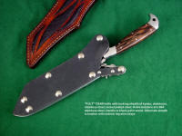 """PJLT"" tactical, combat, CSAR knife with locking sheath option in stainless steel, kydex, nickel plated steel, aluminum frame and belt loops, high strength, corrosion resistant"