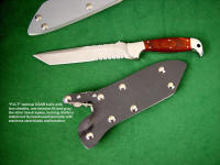 """PJLT"" tactical combat knife in 440C high chromium stainless steel blade, 304 stainless steel bolsters, stabilized laminate hardwood (Dymondwood) handle, locking kydex, aluminium, stainless steel sheath"