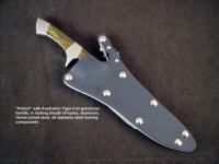 """Patriot"" tactical, combat knife in locking knife sheath of kydex, aluminum, stainless steel, nickel plated steel"