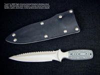 """Lynx"" combat, tactcal, CSAR knife, obverse side view: 440C high chromium stainless steel blade, 304 stainless steel bolsters, Micarta phenolic handle, kydex, aluminum, nickel plated steel sheath"