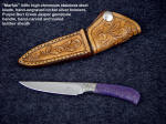 """Marfak"" Purple Burl Creek Jasper, Stainless Steel Blade, Hand-Tooled leather Sheath"