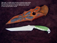 """Mercator,"" fine handmade knife in 440C stainless steel tanto blade, hand-engraved bolsters of 304 stainless steel, California nephrite jade gemstone handle, stingray skin inlaid in hand-carved leather sheath"
