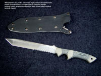 """Mintueman"" EL combat knife in hollow ground and satin finished D2 high carbon die steel blade, micarta handle, locking combat knife sheath"