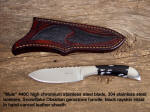 """Mule"" 440C high chromium stainless steel blade, 304 stainless steel bolsters, Snowflake Obsidian gemstone handle, black rayskin inlaid in hand-carved leather sheath"