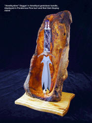 """Amethystine"" fine handmade dagger with amethyst and silver handle, stainless steel blade. Stand is carved pine burl, red oak"