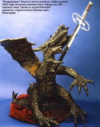 """Dragonslayer"" represents a cure for cancer, slaying the black dragon of cancer. Sword is modified caduceus"