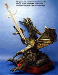"Dragonslayer's sword is over 56"" long, and is hollow ground mirror finished 440C high chromium stainless steel."