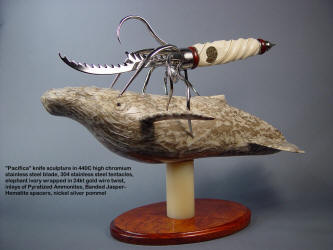 """Pacifica"" knife sculpture in stainless steel, ivory, gemstone, hand-carved alabaster, hardwood"
