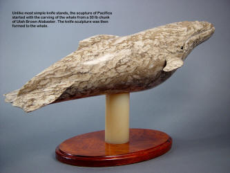 """Pacifica"" was built from the ground up, and the whale was sculpted first from a large piece of Utah Brown Alabaster"