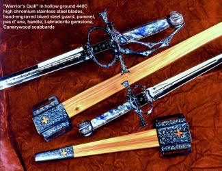 """The Warrior's Quill"" has functioning Pas d' ane, which is a device that helps control torsion and flexion at the ricasso of the sword. The blades have nice piercework and cannelures, and are hollow ground. Handle material is Labradorite gemstone"