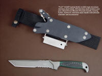 """PJLT"" custom handmade tactical CSAR knife, obverse side view in 440c high chromium stainless steel blade, 304 stainless steel bolsters, green and black micarta phenolic handle, locking kydex, aluminum, stainless steel sheath with ultimate belt loop extender and accessories"