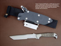 """PJLT"" CSAR tactical knife, obverse side view in 440C high chromium stainless steel blade, 304 stainless steel bolsters, green linen micarta phenolic handle, locking kydex, aluminum, stainless steel sheath with ultimate extender and accessory package"