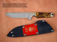 "United States Air Force Pararescue ""Paraeagle"" obverse side view in 440C high chromium stainless steel blade, nickel silver bolsters, Cordia (Bocote) hardwood handle, tension kydex, aluminum, steel sheath"