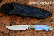 """Perseus"" obverse side view in 440C high chromium martensitic stainless steel blade, hand-engraved 304 stainless steel bolsters, blue lace agate gemstone handle, hand-carved, hand-dyed leather sheath"