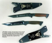 Police SWAT knives in blued steel, engraved, gemstone handles, locking kydex, aluminum, stainless steel knife sheaths, commemorative, service