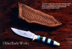 """Sandia"" in 440C high chromium stainless steel blade, brass guard and pommel, turquoise, tiger eye quartz gemstone handle, hand-stamped basketweaved leather sheath"
